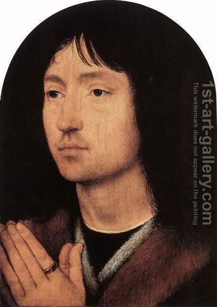 Portrait of a Young Man at Prayer c. 1487 by Hans Memling - Reproduction Oil Painting