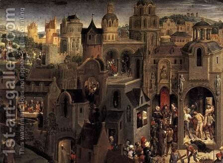 Scenes from the Passion of Christ (detail-2) 1470-71 by Hans Memling - Reproduction Oil Painting