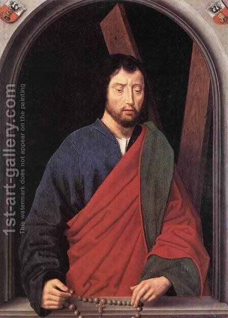 St Andrew (left wing of a diptych, reverse) 1490s by Hans Memling - Reproduction Oil Painting