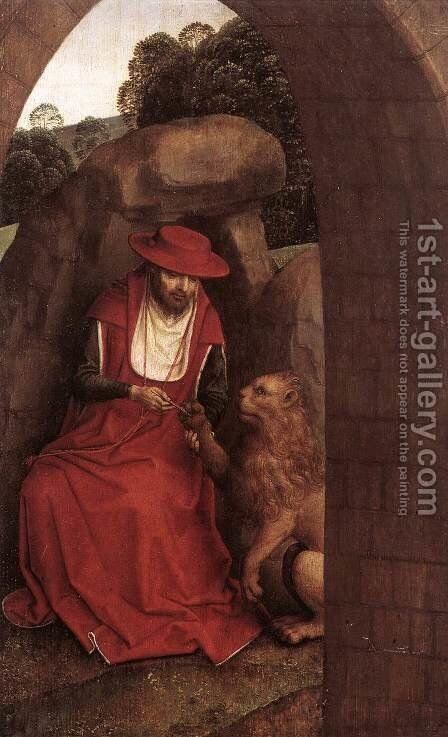 St Jerome and the Lion 1485-90 by Hans Memling - Reproduction Oil Painting