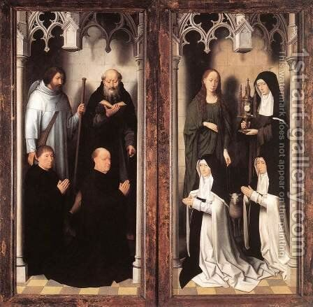 St John Altarpiece (closed) 1474-79 by Hans Memling - Reproduction Oil Painting