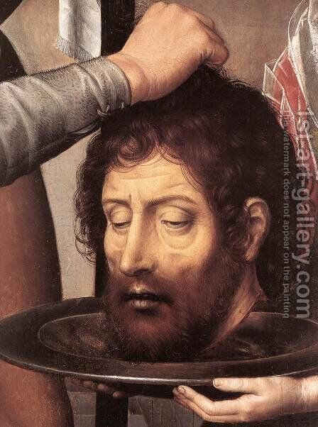 St John Altarpiece (detail-2) 1474-79 by Hans Memling - Reproduction Oil Painting