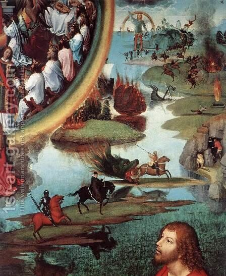 St John Altarpiece (detail-7) 1474-79 by Hans Memling - Reproduction Oil Painting