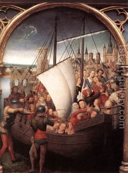 St Ursula Shrine- Martyrdom (scene 5) 1489 by Hans Memling - Reproduction Oil Painting