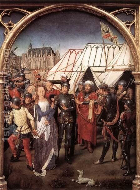 St Ursula Shrine- Martyrdom (scene 6) 1489 by Hans Memling - Reproduction Oil Painting
