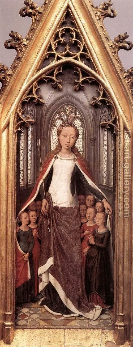 St Ursula Shrine- St Ursula anad the Holy Virgins 1489 by Hans Memling - Reproduction Oil Painting