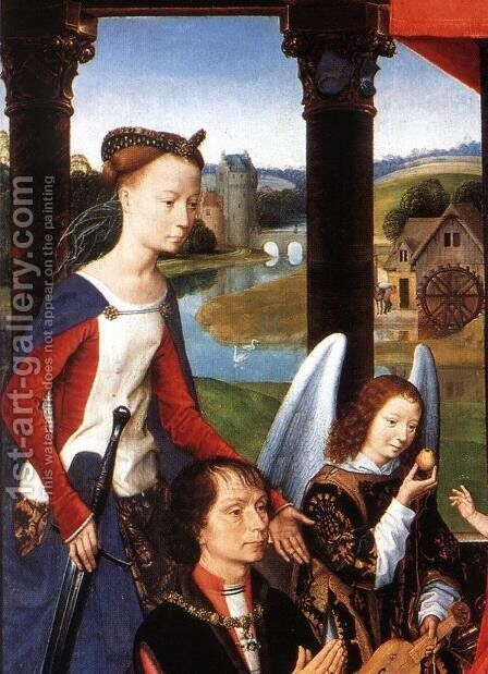 The Donne Triptych (detail-1) 1475 by Hans Memling - Reproduction Oil Painting