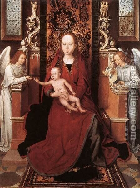 Virgin and Child Enthroned with Two Angels 1485-90 by Hans Memling - Reproduction Oil Painting