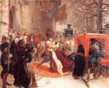 Gustav Adolph Greets his Wife outside Hanau Castle in January 1632,  1847 by Adolph von Menzel - Reproduction Oil Painting