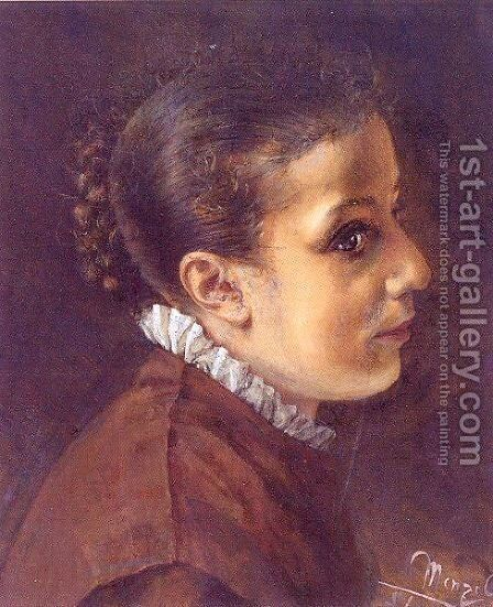 Head of a Girl 1851 by Adolph von Menzel - Reproduction Oil Painting