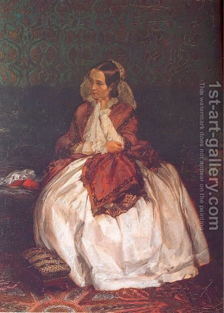 Portrait of Frau Maercker 1846-47 by Adolph von Menzel - Reproduction Oil Painting