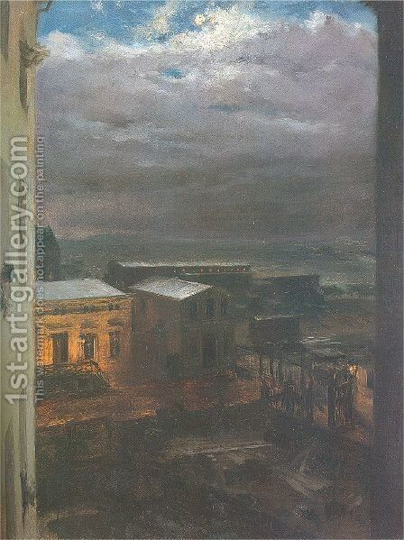 The Anhalter Railway Station by Moonlight 1846 by Adolph von Menzel - Reproduction Oil Painting
