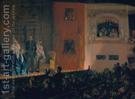 Theatre du Gymnase 1856 by Adolph von Menzel - Reproduction Oil Painting