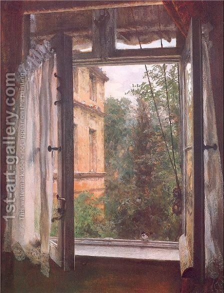View from a Window in the Marienstrasse 1867 by Adolph von Menzel - Reproduction Oil Painting