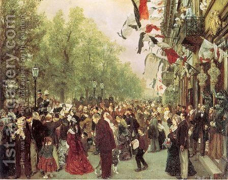 William I Departs for the Front,  July 31 1870,  1871 by Adolph von Menzel - Reproduction Oil Painting