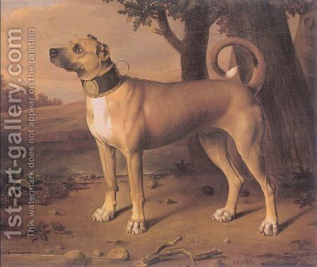 Ulmer Dogge 1705 by Johann Christof Merck - Reproduction Oil Painting
