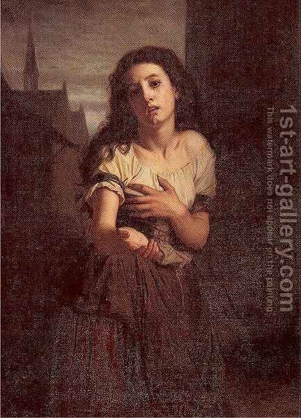 A Beggar Woman 1861 by Hugues Merle - Reproduction Oil Painting
