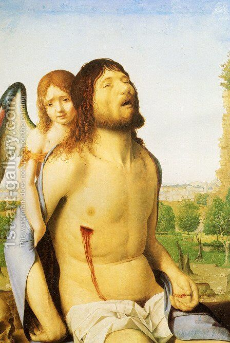 The Dead Christ Supported by an Angel 1476 by Antonello da Messina Messina - Reproduction Oil Painting