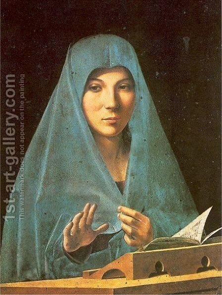 Virgin Annunciate 1475 by Antonello da Messina Messina - Reproduction Oil Painting