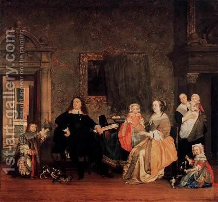 Burgomaster Gillis Valckenier and his Family 1675 by Gabriel Metsu - Reproduction Oil Painting