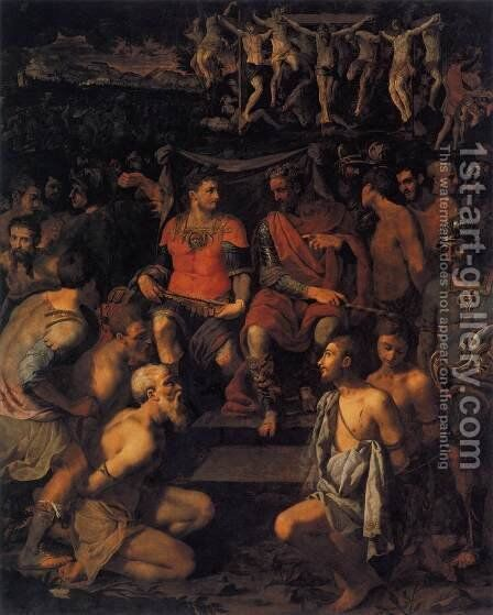 The Martyrdom of the 10.000,  1550s by Michele di Ridolfo del Ghirlandaio (see Tosini) - Reproduction Oil Painting