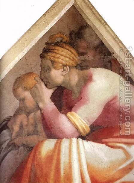Ancestors of Christ- figures (5) (detail)  1511 by Michelangelo - Reproduction Oil Painting