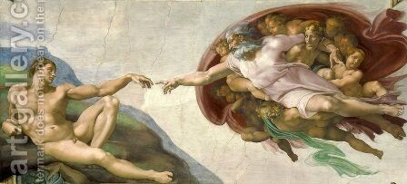 Creation of Adam  1510 by Michelangelo - Reproduction Oil Painting
