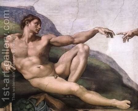 Creation of Adam (detail-1) 1510 by Michelangelo - Reproduction Oil Painting