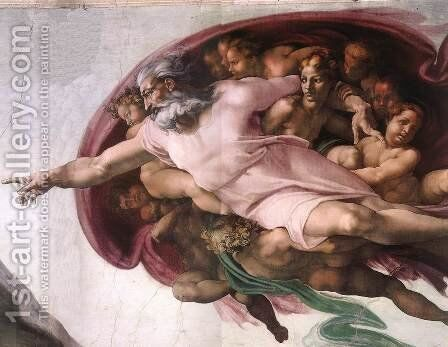 Creation of Adam (detail-2) 1510 by Michelangelo - Reproduction Oil Painting