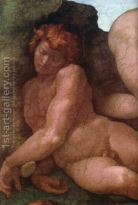 Creation of Eve (detail-1) 1509-10 by Michelangelo - Reproduction Oil Painting