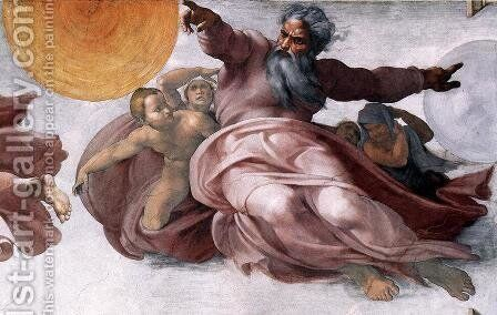 Creation of the Sun, Moon, and Plants (detail-1) 1511 by Michelangelo - Reproduction Oil Painting