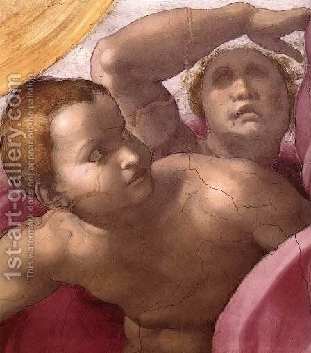 Creation of the Sun, Moon, and Plants (detail-3) 1511 by Michelangelo - Reproduction Oil Painting