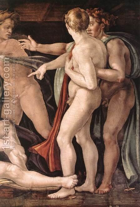 Drunkenness of Noah (detail-2) 1509 by Michelangelo - Reproduction Oil Painting