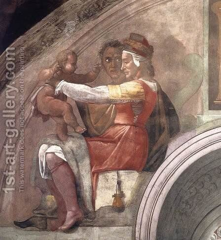 Eleazar - Matthan (detail-1) 1511-12 by Michelangelo - Reproduction Oil Painting