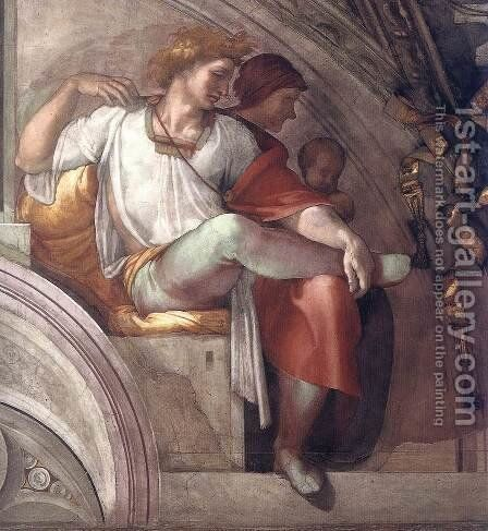 Eleazar - Matthan (detail-3) 1511-12 by Michelangelo - Reproduction Oil Painting