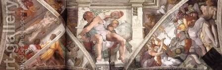 Frescoes above the altar wall 1508-12 by Michelangelo - Reproduction Oil Painting