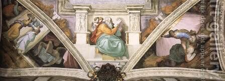 Frescoes above the entrance wall 1508-12 by Michelangelo - Reproduction Oil Painting
