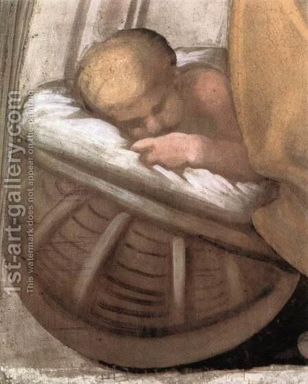 Hezekiah - Manasseh - Amon (detail-2) 1511-12 by Michelangelo - Reproduction Oil Painting