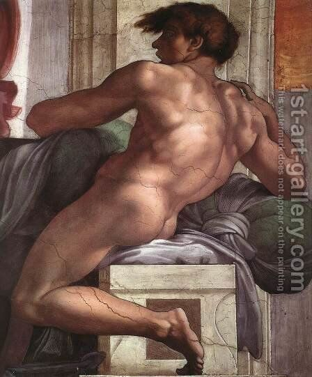 Ignudo -1  1511 by Michelangelo - Reproduction Oil Painting