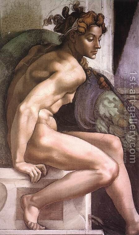 Ignudo -2  1509 by Michelangelo - Reproduction Oil Painting