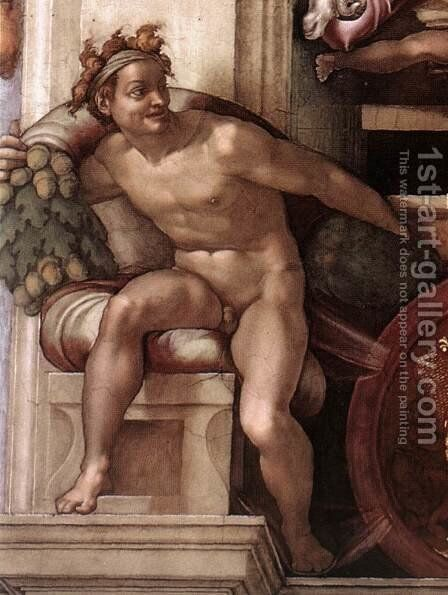 Ignudo -7  1509 by Michelangelo - Reproduction Oil Painting