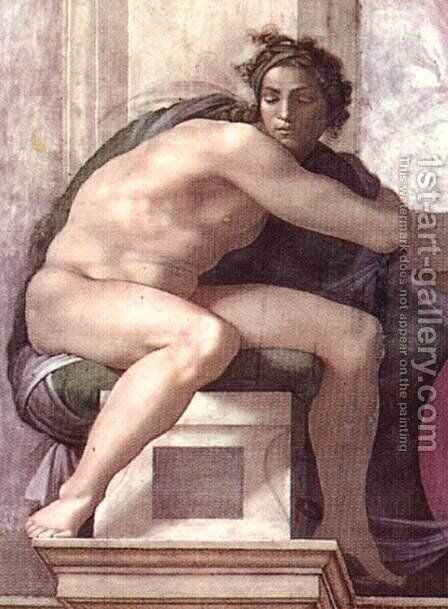 Ignudo -7  1511 by Michelangelo - Reproduction Oil Painting