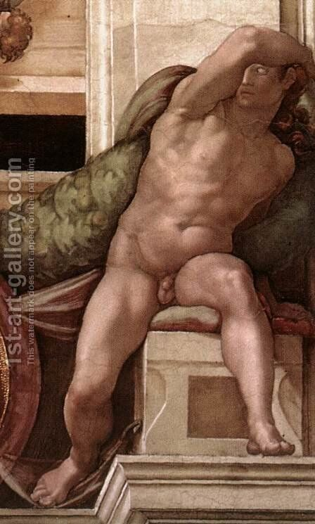 Ignudo -8  1509 by Michelangelo - Reproduction Oil Painting