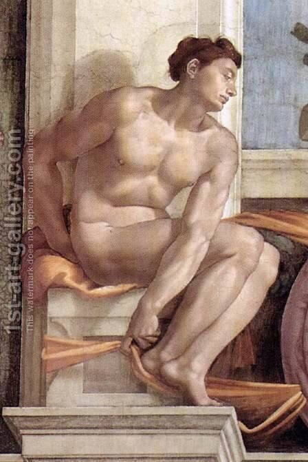 Ignudo -10  1509 by Michelangelo - Reproduction Oil Painting