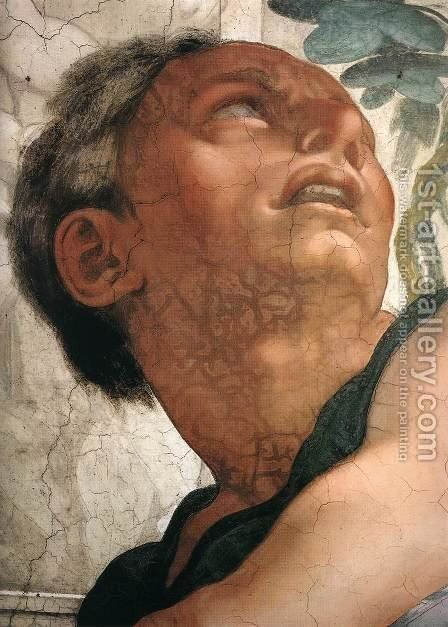 Jonah (detail-1) 1511 by Michelangelo - Reproduction Oil Painting