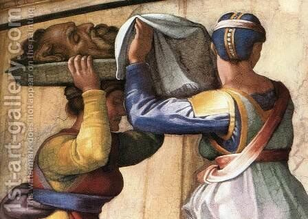 Judith and Holofernes (detail-2) 1509 by Michelangelo - Reproduction Oil Painting