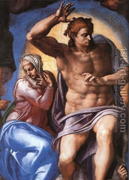 Last Judgment (detail-2) 1537-41 by Michelangelo - Reproduction Oil Painting