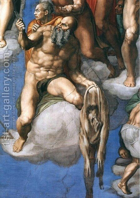 Last Judgment (detail-3) 1537-41 by Michelangelo - Reproduction Oil Painting