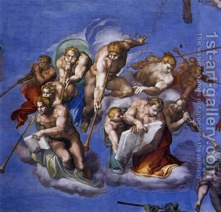Last Judgment (detail-5) 1537-41 by Michelangelo - Reproduction Oil Painting