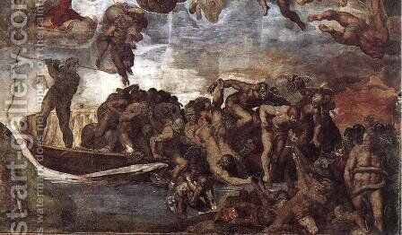 Last Judgment (detail-7) 1537-41 by Michelangelo - Reproduction Oil Painting
